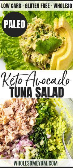 Recipes Tuna Easy Healthy Avocado Tuna Salad Recipe - A healthy easy avocado tuna salad recipe! See how to make avocado tuna salad in just 10 minutes. Bonus: tuna and avocado salad needs just 7 ingredients! Healthy Tuna Salad, Avocado Tuna Salad, Keto Avocado, Avocado Salat, Easy Tuna Salad, Healthy Food List, Good Healthy Recipes, Healthy Foods To Eat, Real Food Recipes
