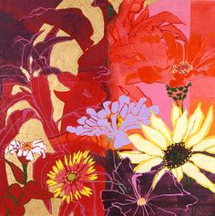 Robert Kushner. American artist.Kushner's paintings achieved their mature style in the late 1980s when the artist began to focus upon the theme of flowers. These paintings employed gold and other metal leaf, a fractured, almost cubist space, and a loose or free use of pattern that recalls the work of Matisse, who Kushner has cited as his single greatest influence. The works often take on a decorative, frieze-like format that recalls the art of Japanese screen painting.