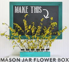 DIY Mason Jar Flower Box via The Shabby Creek Cottage