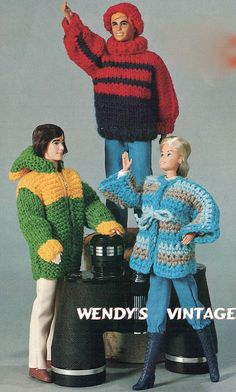 Instant Download PDF Sixties Crochet and Knitting Pattern to make Barbie and Ken…