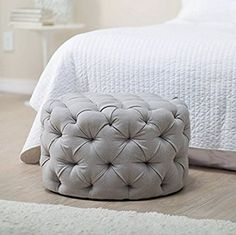 Amazon.com: Round Ottoman Grey, This Large Tufted Round Ottoman Features a Textured All Over Sleek Contemporary Look, This Gray Round Ottoman Is the Perfect Footstool in Your Living Room Area!: Kitchen & Dining