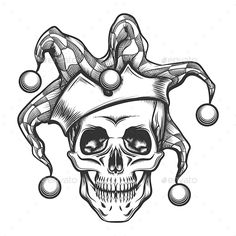 Buy The Skull in Joker Cap by on GraphicRiver. Hand drawn jester skull in fools cap. Vector illustration in engraving tattoo style. Editable AI EPS 10 and high . Dragon Sleeve Tattoos, Skull Tattoos, Body Art Tattoos, Jester Tattoo, Clown Tattoo, Geisha Tattoos, Skull Tattoo Design, Skull Design, Tattoo Sketches