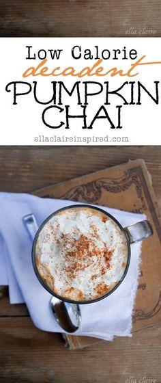 Calorie Decadent Pumpkin Chai Decadent Pumpkin Chai recipe~ only 108 calories! Perfect for fall.Decadent Pumpkin Chai recipe~ only 108 calories! Perfect for fall. Fun Drinks, Yummy Drinks, Healthy Drinks, Yummy Food, Beverages, Tasty, Milk Shakes, Pumpkin Recipes, Fall Recipes