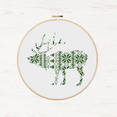 Nordic Cross Stitch Pattern Christmas Reindeer Pattern Printable Deer Instant Download PDF Scandinavian Modern Cross Stitch Holiday DIY Gift