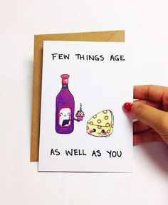 Funny Birthday Card Best Friend Wine Pun