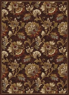 Courtney Transitional Floral Brown Rectangle Area Rug, x Floral Area Rugs, Floral Rug, Floral Design, Textile Patterns, Textile Design, Victorian Wallpaper, Transitional Area Rugs, Brown Floral, Fabric Painting