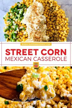 Turn your favorite elote recipe into the perfect party side dish with our Mexican Street Corn Casserole! Using only simple ingredients including fresh or frozen corn, chipotle seasoning, and green onions, this flavorful and easy dish will have everyone coming back for seconds. via @thesundaysupper Easy Party Side Dishes, Taco Side Dishes, Best Side Dishes, Side Dish Recipes, Food Dishes, Mexican Elotes Recipe, Elote Corn Recipe, Frozen Corn Recipes