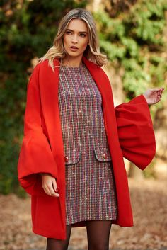 Ana Radu casual elegant with inside lining with bell sleeve red coat from wool Straight Cut, Line, Bell Sleeves, November, Blazer, Warm, Elegant, Coat