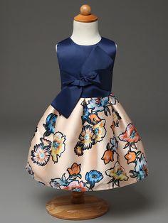 New beautiful summer tank girl dress flower print hem ball gown Girl Dresses children infantis clothing costume 2-7 age