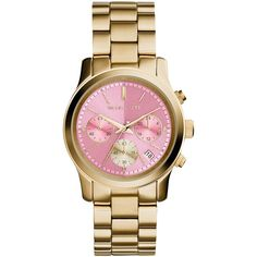 Michael Kors Women's Runway Stainless Steel Bracelet Watch , Gold/Pink (8.875 CZK) ❤ liked on Polyvore
