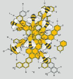 BEE~Bees on molecular honey I Love Bees, Bee Art, My Demons, Save The Bees, Bee Happy, Bees Knees, Queen Bees, Mellow Yellow, Bee Keeping