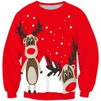 Wish | Women Red Crew Neck Long Sleeve Reindeer Print Sweatshirt
