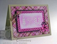 Greeting Card  I Heart You Pink Plaid for Valentine's by JanTink, $4.95