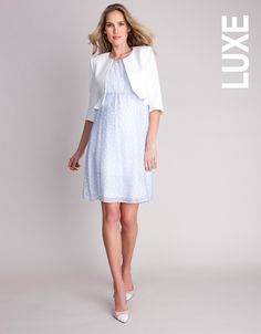 Pure Silk Baby Blue Polka Dot Maternity Dress #Seraphine #Style #Fashion