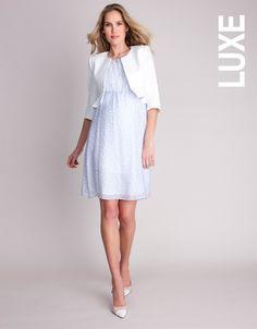 Pure Silk Baby Blue Polka Dot Maternity Dress #Seraphine #Style #Fashion