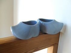 Pair of Vintage Blue Ceramic Dutch Shoe Pottery  Planters by lookonmytreasures on Etsy