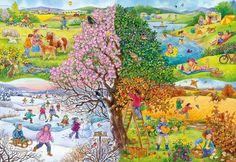 Four Seasons - jigsaw puzzle pieces)