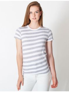 【ファインジャージーストライプショートスリーブTシャツ】American Apparel