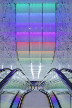 Colour change escalator -London