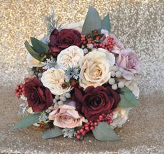 Bridal Bouquet with Marsala, Mauve and Ivory Roses, Dried Brunia, Berries, Eucalyptus.jpg #weddingbouquets