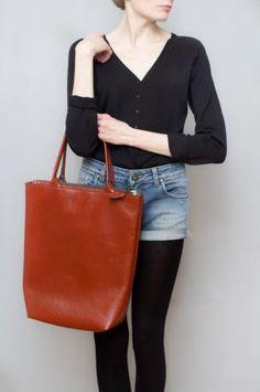 Duża ceglasta tote bag - Ręcznie robione skórzane torby