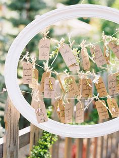 picture frame escort card display - photo by Cassidy Brooke