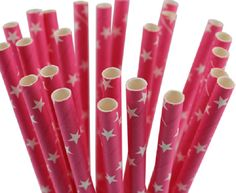 """Hot Pink with White Stars Paper Straws by JazzyAppleGal on Etsy; also on Facebook """"JAZZY APPLES AND CHOCOLATES"""""""