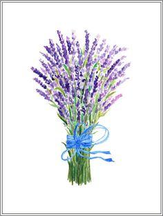 hand painted watercolour lavender blue purple by CornerCroft