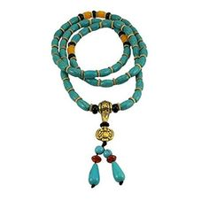 Tibetan 108 Prayer Beads Wrap Bracelet Necklace Turquoise Beads | Beads and Dangles