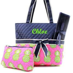Personalized diaper bag boys blue diaper bag new baby gift personalized diaper bag monogrammed navy and pink pineapple diaper bag negle Image collections