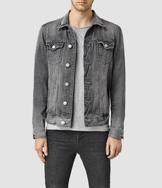 $195, Garford Denim Jacket. Sold by AllSaints. Click for more info: https://lookastic.com/men/shop_items/447509/redirect
