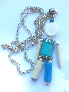 """Handmade necklace/pendant """"Blue doll"""" turquoise, resin & mother of pearl - Collana/pendente """"Blue doll"""" bambolina con pietre in turchese, resina, madreperla - http://www.alittlemarket.it/collane/it_collana_pendente_blue_doll_bambolina_con_pietre_in_turchese_resina_madre_perla_-10104019.html"""