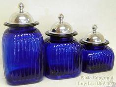 Amazon.com: Colbalt Blue Glass Kitchen Canister Set Hand Blown: Home & Kitchen