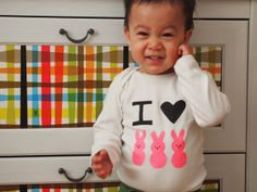 Pink Stripey Socks: I heart peeps (freezer paper stencil)