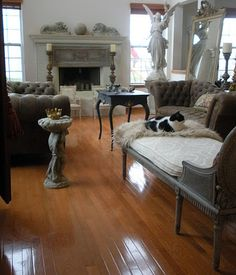 after photo of brick fireplace w/ gas logs and glass screen removed Livng Room, French Living Rooms, Hamptons House, Barbie Dream House, Interior Design Inspiration, Design Ideas, Cool Rooms, My Dream Home, Chesterfield Sofas