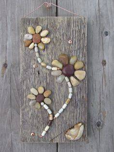 Stone Mosaic on Barn Wood by artisanstoneworks on Etsy