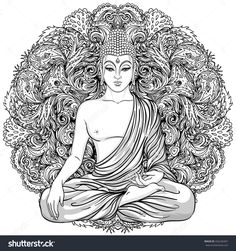 stock-vector-sitting-buddha-over-ornate-mandala-round-pattern-esoteric-vintage-vector-illustration-indian-426236467.jpg (1500×1600)