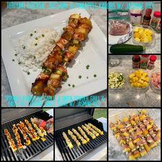 Sprinkle kabobs w/ garlic & onion powder. Grill & baste w/ teriyaki sauce. Serve w/ jasmine rice Teriyaki Sauce, Teriyaki Chicken, Pineapple Kabobs, Jasmine Rice, Allrecipes, Love Food, Onion, Garlic, Powder