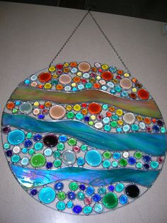 Sunset Effervescence Stained Glass Round by PaneintheGlassGifts, $250.00