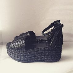 0c47696cf9 ZARA Black Braided Raffia Block Platform Wedge Sandal Shoe Size 36 UK 3 5  New