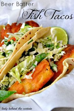 These beer batter fish tacos offer so much flavor.  Top these tacos with a coleslaw salad and you've got the BEST tacos EVER!
