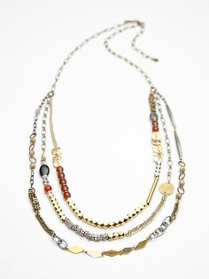 Free People Well Traveled Beaded Layer Necklace at Free People Clothing Boutique