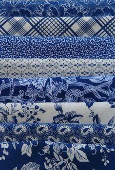 Gallery in Blue Blue White Fat Quarter Bundle 10 - The Quilted Crow Quilt Shop folk art quilt fabric quilt patterns quilt kits quilt blocks Blue And White Fabric, White Fabrics, Blue Fabric, Aztec Fabric, Azul Indigo, Bleu Indigo, Blue Dream, Love Blue, Textiles