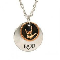 I Love You American Sign Language 2-Piece Necklace. Women€™s 2-piece sign language necklace on an adjustable 18-20? double-rope chain. Pendants are silver and copper finish and silver-finished pendant