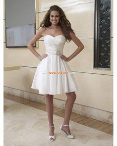 Sweetheart Ball Gown Short Taffeta Wedding Dress with Detachable Skirt 2013