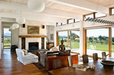 Fireplace, Wood Store, Living & Dining Space, Modern Home in Nelson, New Zealand