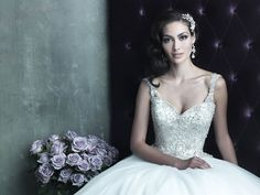 Allure Bridals : Couture Collection : Style C290 : Available colours : White/Silver, Ivory/Silver (close up)