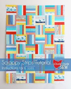 Scrappy Strips Quilt Tutorial ... i'm in love with strippy quilts ... <3 ... cluckclucksew