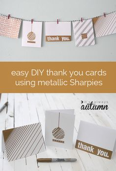 want your kids to write thank you notes after the holidays? get them involved making their own DIY notes - these are easy to make a look special thanks to metallic Sharpies. #StaplesSharpie #PMedia #ad