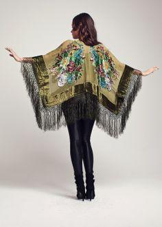 Velluto frangia Kimono verde oliva di shevamps su Etsy, £99,00